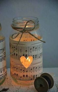 Get In The Christmas Spirit With These Magical 30 DIY Candle Holders Projects music sheet and jar Diy Candle Holders, Diy Candles, Bulk Candles, Romantic Candles, Book Holders, Vintage Candle Holders, Romantic Ideas, Christmas Time, Christmas Crafts