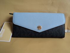 NWT MICHAEL Kors Greenwich Carryall Baltic/Blue PVC/Leather Wallet Purse $138