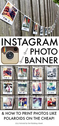 Instagram Photo Banner Tutorial & How to Print Photos Like Polaroids {on the cheap!} via thinkingcloset.com