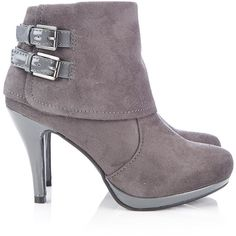 Grey Double Buckle Ankle Boot ($44) ❤ liked on Polyvore featuring shoes, boots, ankle booties, heels, sapatos, grey, gray booties, platform boots, platform booties and cuffed ankle boots