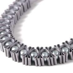Grey 3 Pleat Pearl Ribbon Necklace por maneggi en Etsy