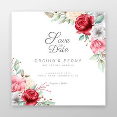 Save the date floral frame with watercolor flowers border. Editable wedding invitation cards vector - Buy this stock vector and explore similar vectors at Adobe Stock   Adobe Stock