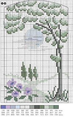 Схема вышивки крестом пейзажа с деревом