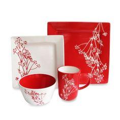 American Atelier Blossom Branch 16-Piece Dinnerware Set in White/Red - BedBathandBeyond.com