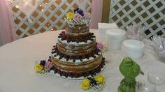 No icing cake just powder sugar and fruit.
