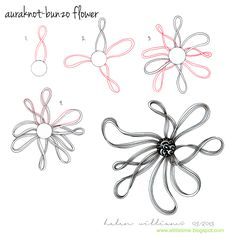 Auraknot-Bunzo Flower Tangle Pattern.  Lots of beautiful patterns on this page.  Love the feathery ones in particular.