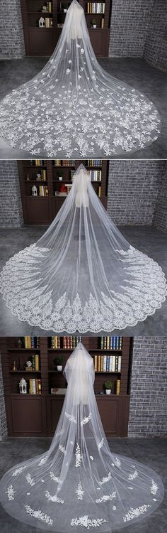In Stock Luxurious Tulle Cathedral Wedding Veil With Lace Appliques (Wedding Hair With Headpiece) Wedding Goals, Wedding Attire, Hair Wedding, Wedding Ideas, Wedding Inspiration, Dream Wedding Dresses, Bridal Dresses, Bridal Veils, Bridal Hair