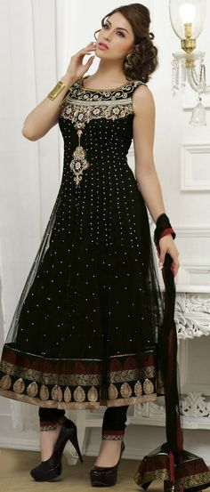 #Black Net Flared #Churidar Kameez @ $187.39