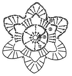 Круглый мотив крючком, схема