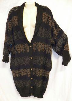 VGT 80s Fuzzy Knit Long BoHo Cardigan Sweater Coat Retro Grunge Slouch Oversized #frenchconnection #SweaterCoat