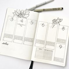 Bullet Journal Dahlia Weekly Spread with Productivity and Habit Tracker by: cardigansandchamomile