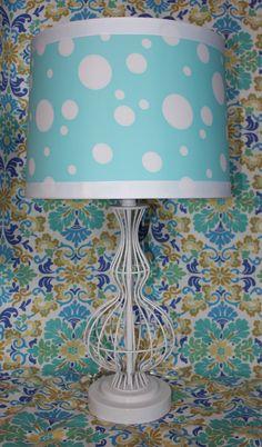 26″H Aqua Polka Dot Lamp $198.00   http://hungouttobuy.com/girls-fashion-room/simply-sabrina/#