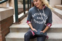 Saturdays and Sundays just got a little better with our favorite Sundry sweatshirt. Wear on it's own or layer over plaids and long sleeves for extra coziness. #Evereve