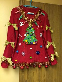 Ugly Christmas Sweaters - Ugly Christmas Sweater - My handmade ugly Christmas sweater Homemade Ugly Christmas Sweater, Best Ugly Christmas Sweater, Couple Christmas, Tacky Christmas, Christmas Outfits, Christmas Ideas, Christmas Crafts, Christmas Costumes, Pulls