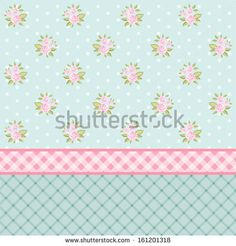 Vintage floral background with pink roses in shabby chic style as retro wallpaper - stock vector