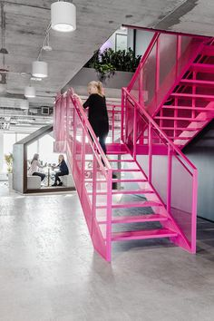 Office Tour: MediaCom Offices – Warsaw : Office stairs from MediaCom Offices – Warsaw Office Space Design, Workplace Design, Office Interior Design, Office Interiors, Detail Architecture, Stairs Architecture, Commercial Stairs, Metal Stairs, Interior Stairs