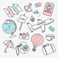 Hand drawn travel element vector set | free image by rawpixel.com / marinemynt Aesthetic Stickers, How To Draw Hands, Easy Drawings, Bullet Journal Stickers, Cricut, Print Stickers, Travel Doodles, Travel Stickers, Inspiration
