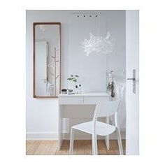 IKEA - BRIMNES, Dressing table, , Built-in mirror with hidden storage space that helps you organise your jewellery and make-up.Drawer stops prevent the drawer from being pulled out too far.