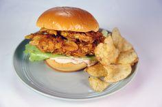 Salt and Vinegar Chicken Sandwich Recipe by Michael Symon - use Clinton's French Onion Dip recipe