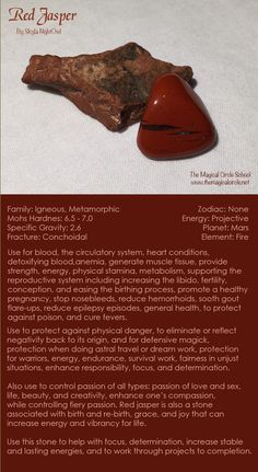 Red Jasper - by Skyla NightOwl - The Magical Circle School www.themagicalcircle.net