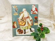 Antique rare die cut chromo scrap with Santa in white dress, Father Christmas dressed in Russian style, highly collectable chromo late 1800 by villavillacolle on Etsy