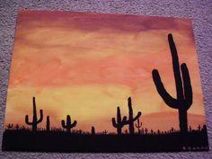 Southwestern Cactus Desert Sunset Silhouette Acrylic Painting, Etsy $24.99