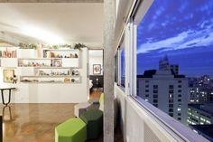 Bookshelf by Filipe Ramos Design   Apartment situated at the top of Edifício Três Marias at the corner of Av. Paulista and R. Haddock Lobo at Jardins neighbourhood in São Paulo, Brazil.
