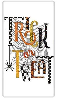 "Halloween Trick Or Treat Spider Web 100% Cotton Flour Sack Dish Tea Towel - Mary Lake Thompson 30"" x 30"""
