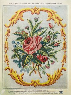 Berlin Work Pattern 'Bouquet of Roses' Cross Stitch Love, Cross Stitch Flowers, Cross Stitch Charts, Cross Stitch Designs, Cross Stitch Patterns, Cross Stitching, Cross Stitch Embroidery, Embroidery Patterns, Hand Embroidery