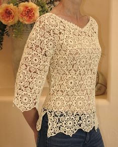 Discover thousands of images about Crocheted motiff sweater. by ExclusivesbyRasa on Etsy Gilet Crochet, Crochet Motifs, Crochet Jacket, Crochet Cardigan, Crochet Patterns, Crochet Bodycon Dresses, Black Crochet Dress, Crochet Summer Tops, Crochet Top