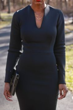 Oversized coat and neoprene dress