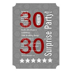 SURPRISE 30th Birthday Gray White Red Stars R601A5 Custom Invitations #birthday #jaclinart #invitation #surprise
