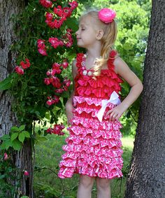 $5.99! Another great find on #zulily! Hot Pink Damask Satin Ruffle Dress - Infant & Toddler #zulilyfinds
