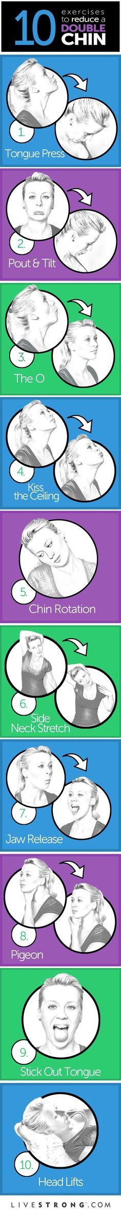 10 great exercises to tone your neck and chin.: