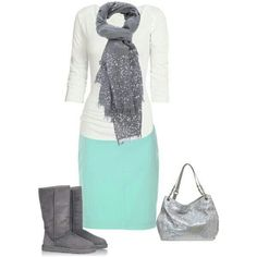 A fashion look from July 2013 featuring white tee, denim skirt and suede knee-high boots. Browse and shop related looks. Modest Outfits, Skirt Outfits, Modest Fashion, Casual Outfits, Cute Outfits, Fashion Outfits, Womens Fashion, Fashion Trends, Modest Wear
