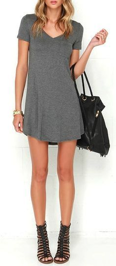 The Better Together Grey Shirt Dress is a number that is sure to beckon you from your closet! This super comfy jersey knit dress has a V neckline and short sleeves with a cute patch pocket accent on the bodice. The swing silhouette drapes casually to a rounded hem. #lovelulus