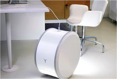 """Yill Cordless Energy Storage Unit. """"Because Yill offsets peak loads by storing energy from the power grid, she helps integrate more renewable energies into your network."""" http://www.younicos.com/en/products/Yill/about-Yill.html"""