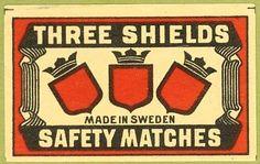 Three Shields – Matchbox label — Made in Sweden