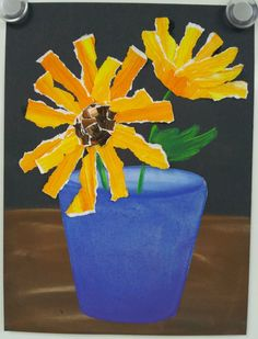 Art with Ms. Gram: Van Gogh Sunflowers Painted paper for flower, then trear into strips. Art Van, Van Gogh Art, First Grade Art, 4th Grade Art, Van Gogh Sunflowers, Sunflower Art, Ecole Art, School Art Projects, Spring Art