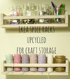 ikea spice racks for craft storage, craft rooms, shelving ideas, storage ideas, IKEA spice racks can be used for more than just spice storage Wall Spice Rack, Ikea Spice Rack, Spice Storage, Spice Organization, Spice Racks, Bathroom Organization, Organizing Ideas, Bathroom Storage, Small Bathroom