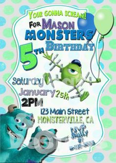 Mike apples for a monsters inc party diy project 2 monsters inc printable monsters inc birthday invitation monsters university invite filmwisefo