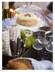 Homes and Roses | Silver rimmed glasses, glass domed server, charcoal, rattan patterned flatware | Lene Bjerre