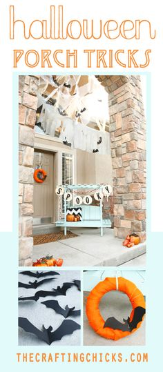 Halloween Porch Tricks with fabric cobwebs and paper bats by MichaelsMakers The Crafting Chicks Halloween Porch Decorations, Theme Halloween, Halloween 2014, Halloween Festival, Halloween Activities, Holidays Halloween, Spooky Halloween, Halloween Crafts, Happy Halloween