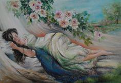 ANGELICA VINCENZA CONTE Olio su tela, 100 x 70 cm, 2014   Angelica non ha pensieri né parole, sogna in un posto incantato dove scopre la consapevolezza della sua serenità ritrovata, che non nasce da altri parti se non da dentro se stessa.
