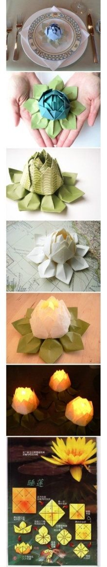 Lovely paper flowers to decorate your plates, a nice idea for guests
