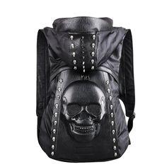Cool Skulls Rivets Hooded Backpack Emoji 1e95f2694ebf9