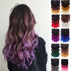 Clip In Ombre Highlight Colour Dip Dye Wavy Hair Extensions Queentas Hot 20''