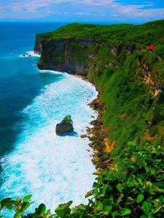 Breathtaking green lush cliffs on Bali Coast. Amazing!!!