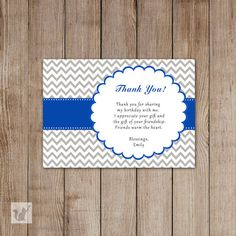 Blue White Damask Thank You Card Note Kids Birthday Party Baby Boy Shower Baby Sprinkle Any Event Printable Editable File INSTANT DOWNLOAD
