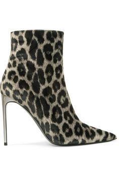 Stella McCartney - Leopard-print Velvet Ankle Boots - Leopard print